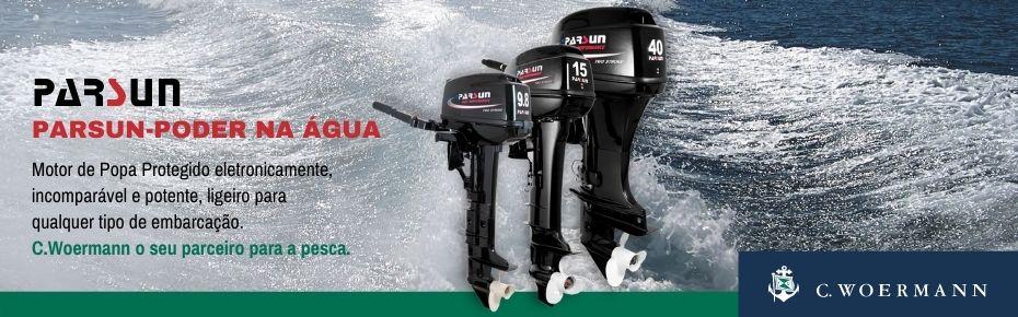 Parsun-Poder na Água. Motor de Popa Protegido eletronicamente, incomparável e potente, ligeiro para qualquer tipo de embarcação. C.Woermann o seu parceiro para a pesca.